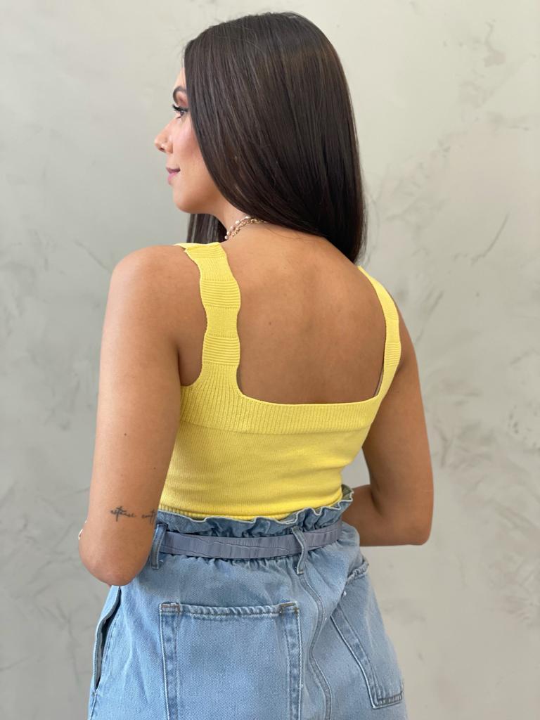 Cropped Tricot Reto Amarelo