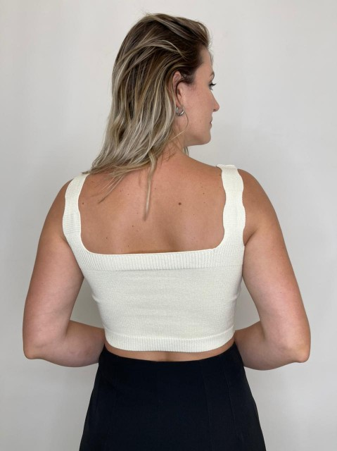 Cropped Tricot Reto Branco
