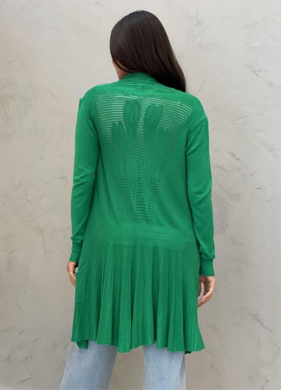 Maxi Cardigan Tricot Verde