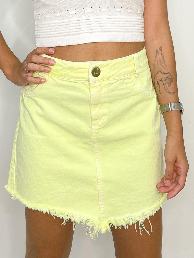 Saia Jeans Color Verde Neon