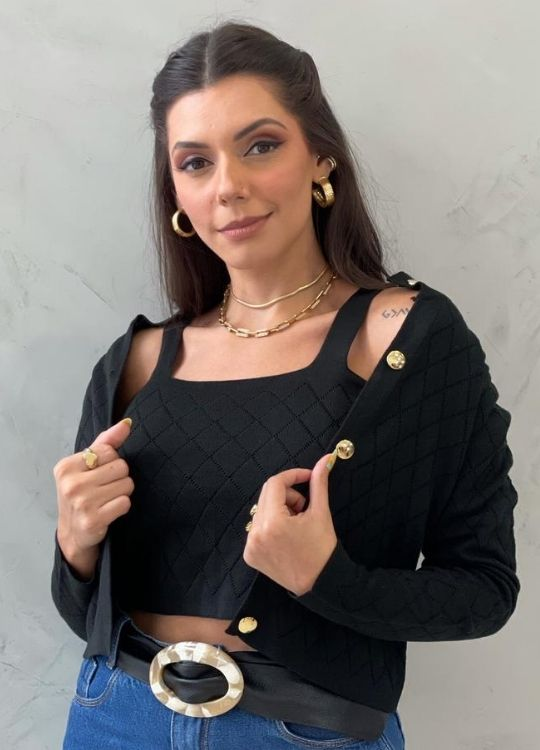 Twin Set de tricot preto