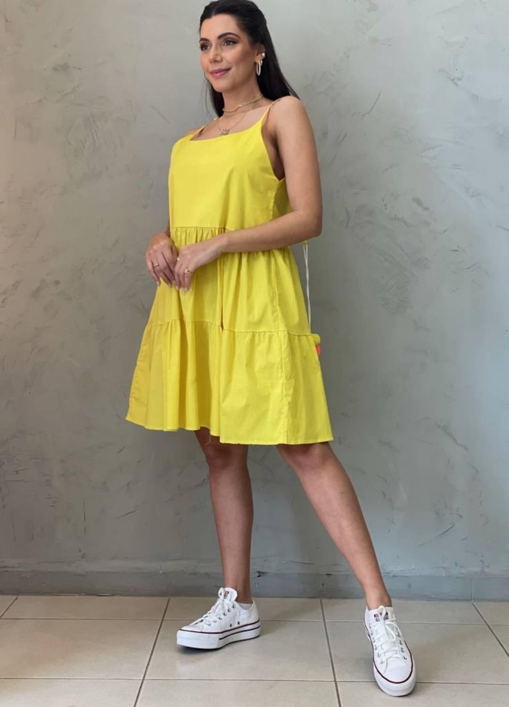 Vestido Amplo Pompom amarelo
