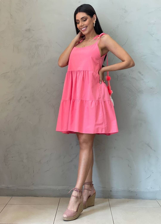 Vestido Amplo Pompom Rosa