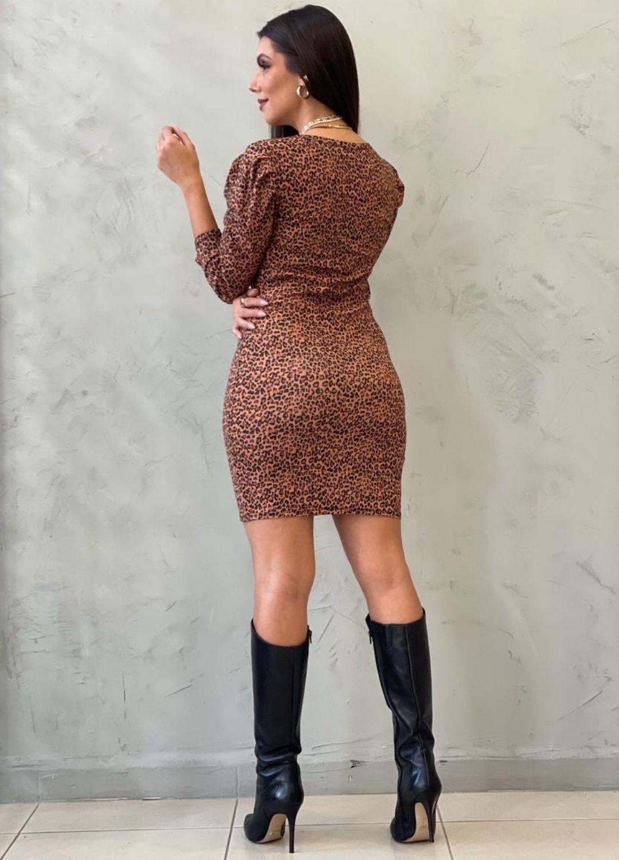 Vestido Curto Animal Print em malha