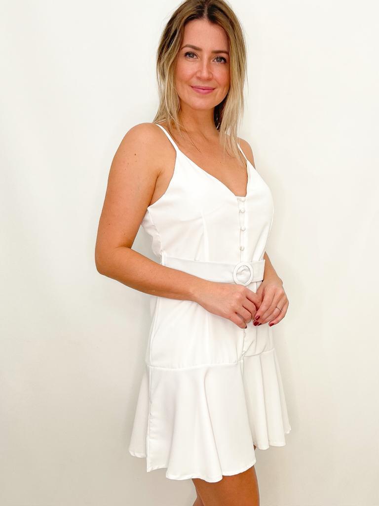 Vestido Branco em Crepe