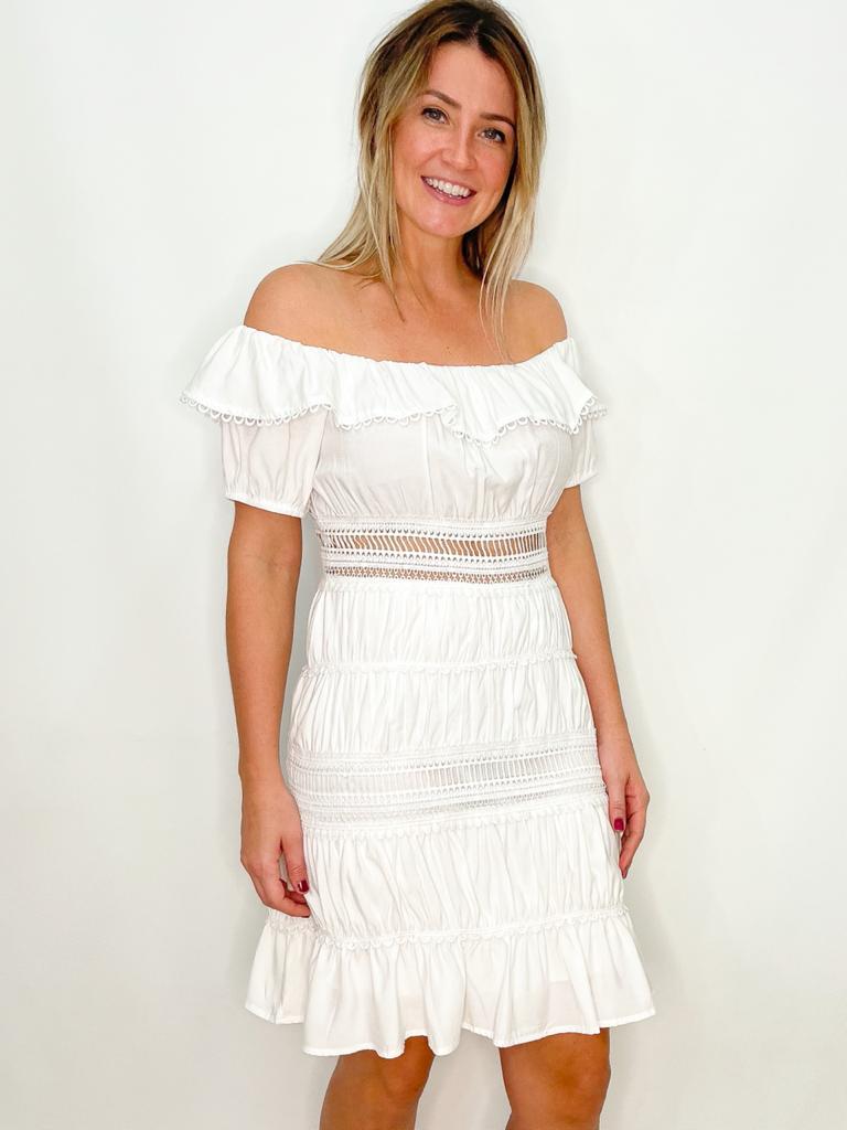 Vestido Branco Ombro a Ombro