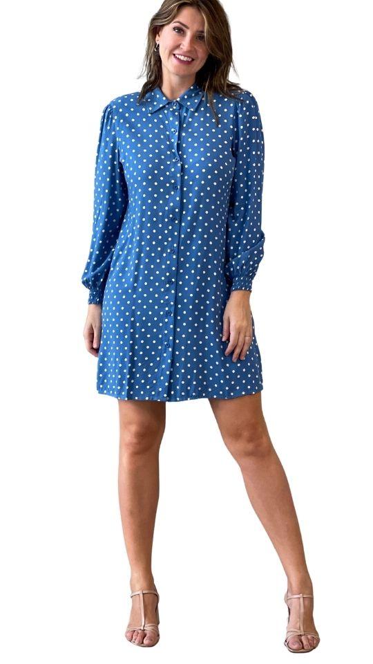 Vestido Chemise de poá azul