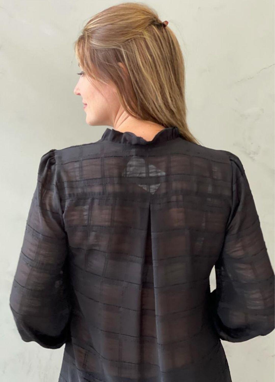 Vestido Chemise em Chiffon Preto