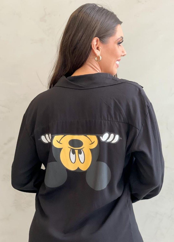 Vestido Chemise Preto Mickey