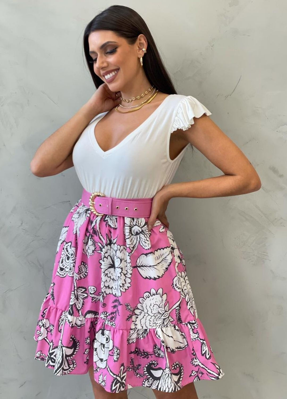 Vestido Composto Floral Rosa