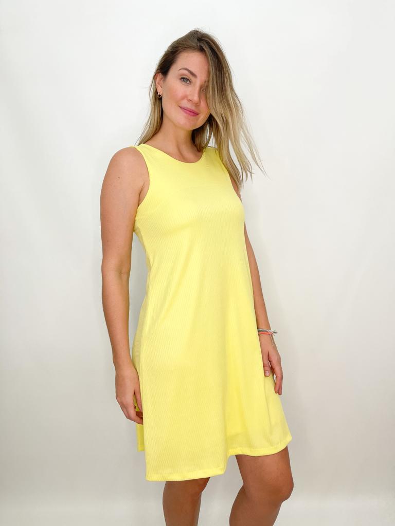 Vestido curto canelado amarelo
