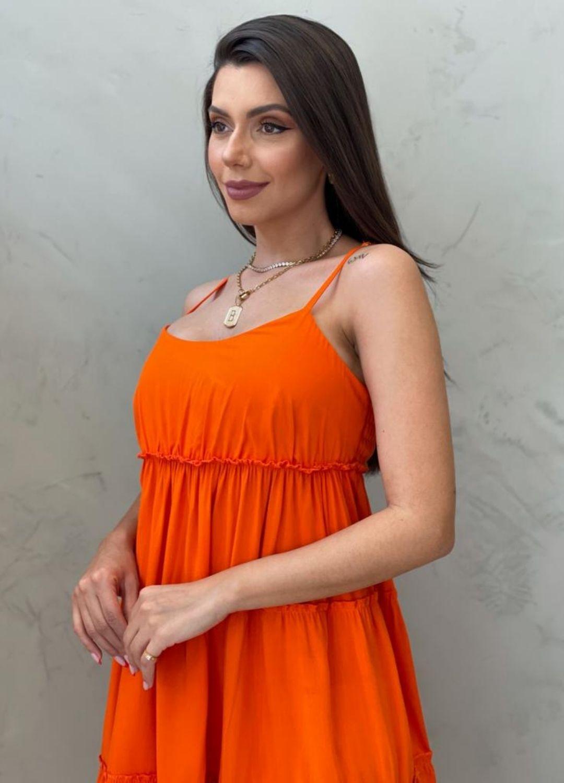 Vestido curto de alça laranja
