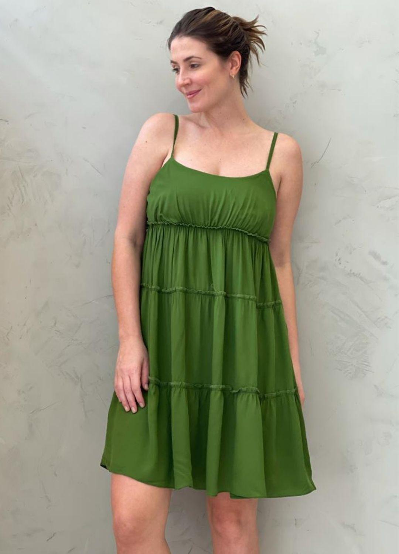 Vestido curto de alça verde
