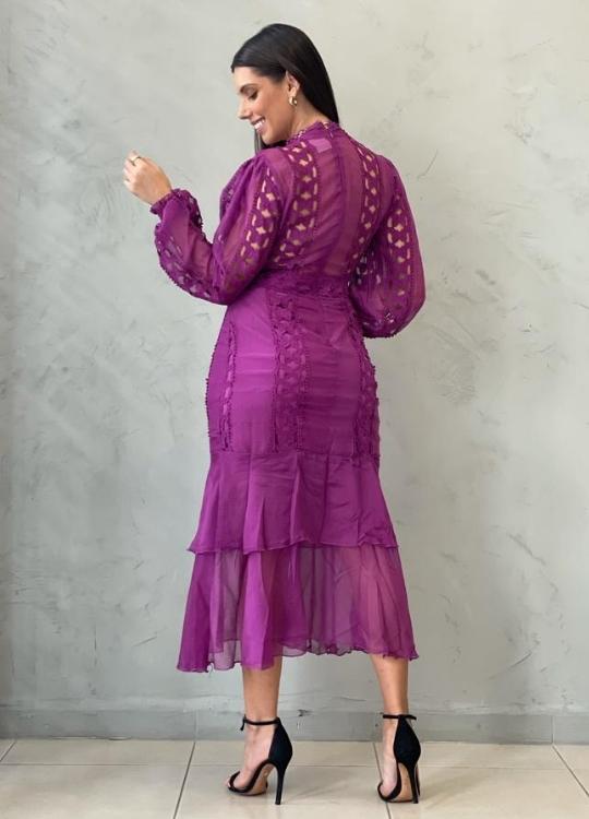 Vestido Midi Guipir Uva