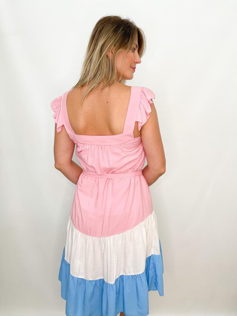 Vestido Curto Tricolor