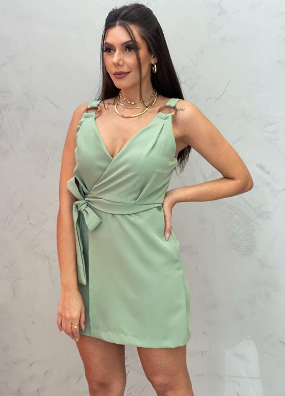 Vestido Curto Verde com amarração