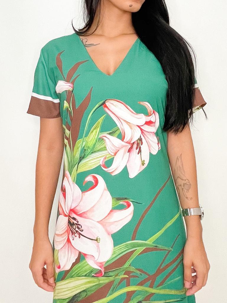 Vestido Curto Verde Floral