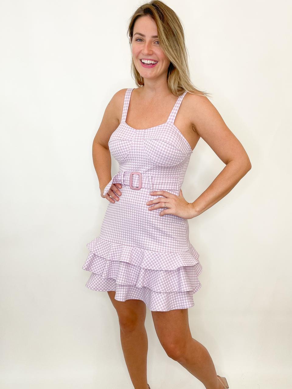 Vestido curto xadrez lilás