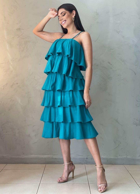 Vestido de camadas azul
