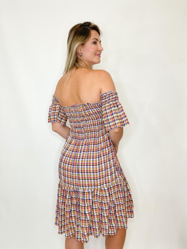 Vestido de lastex Xadrez