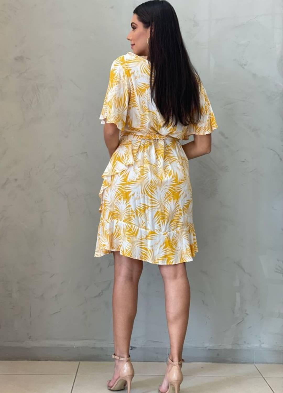 Vestido Envelope Estampado Amarelo