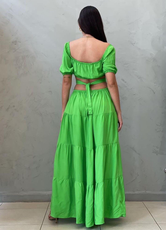 Vestido longo abetura verde