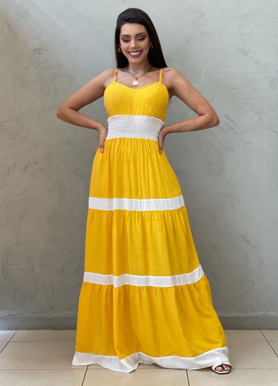 Vestido longo bicolor amarelo