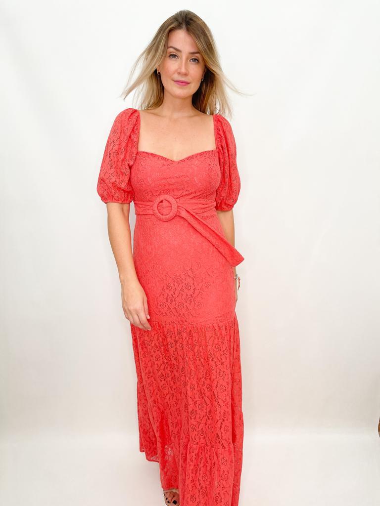 Vestido Longo de Renda Rosa