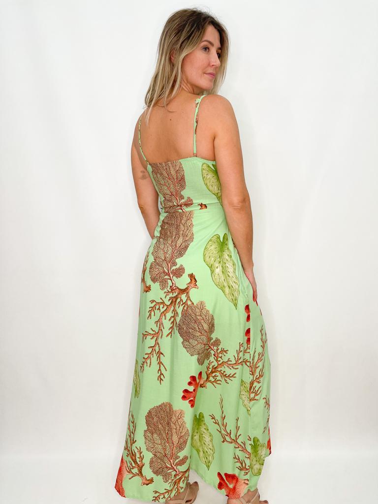 Vestido Longo Estampa de Corais
