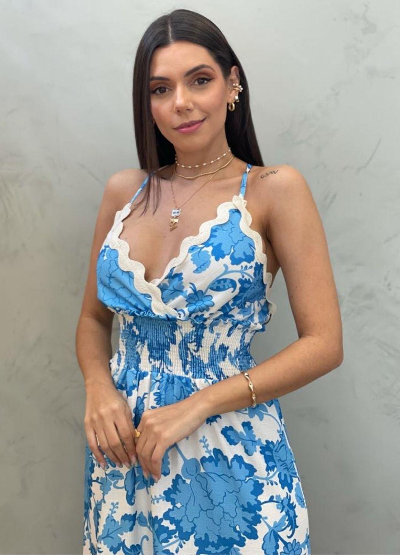 Vestido longo estampado azul