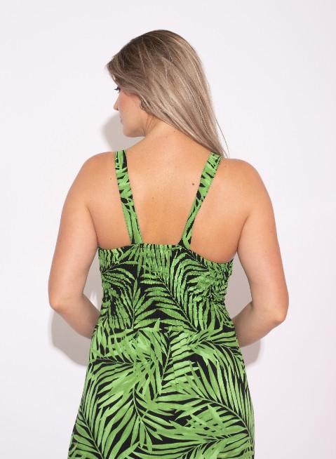 Vestido Longo estampado folhagem Verde
