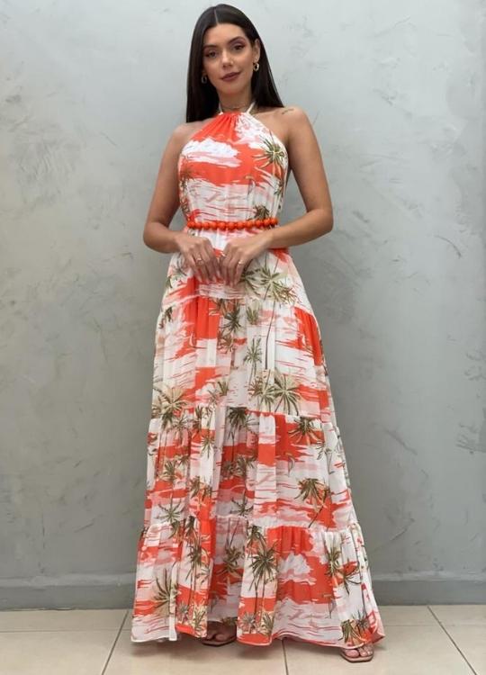 Vestido Longo frente única laranja