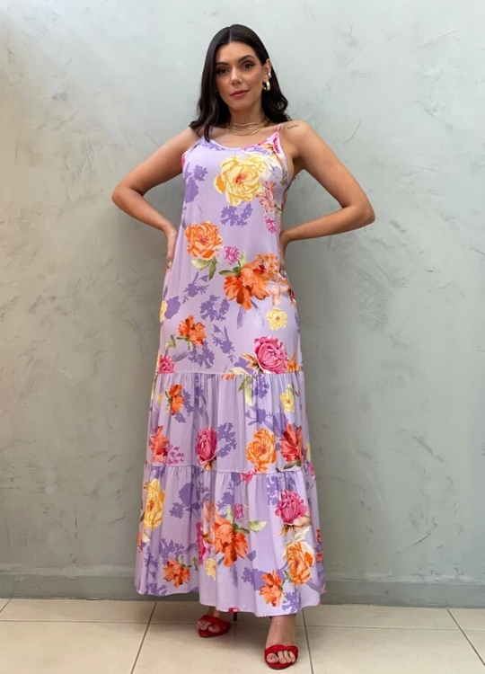 Vestido longo Lilás estampado