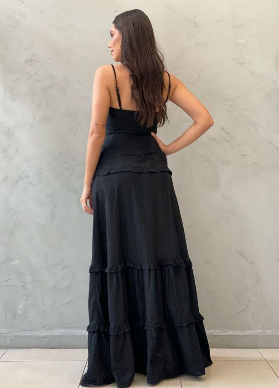 Vestido longo preto de laise