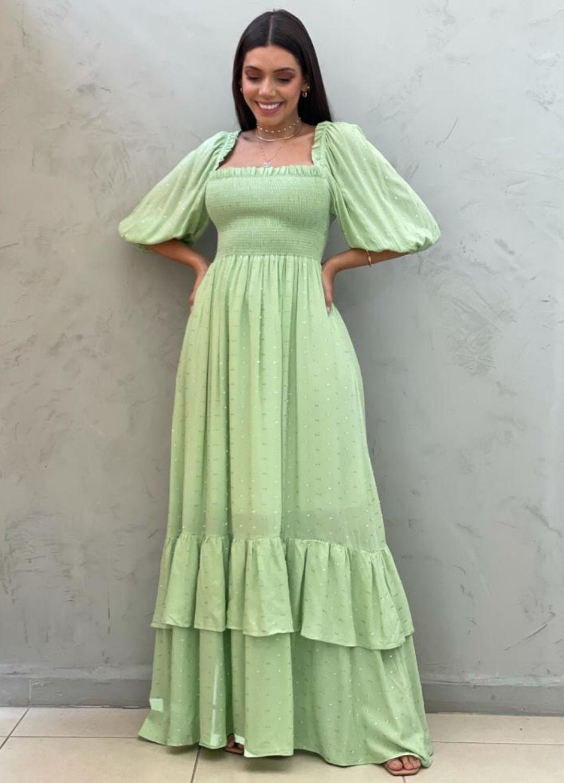 Vestido Longo verde abacate