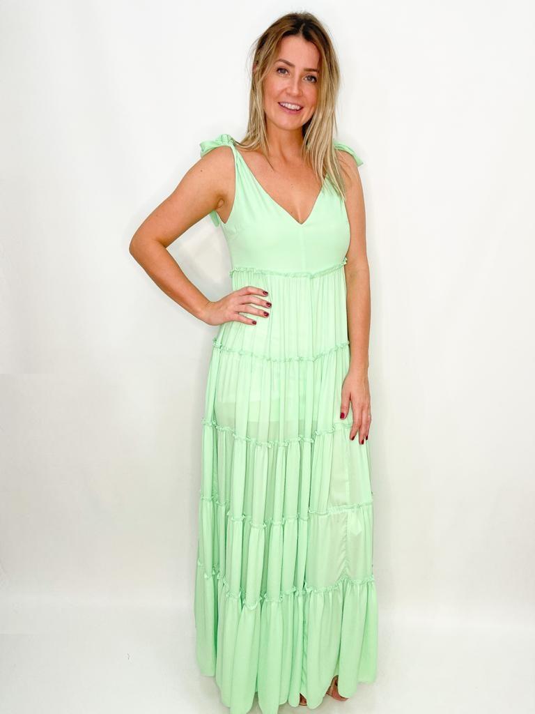 Vestido Longo Verde Claro