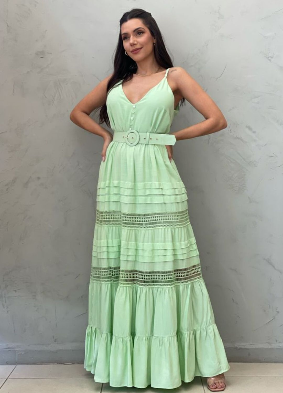 Vestido longo verde com cinto