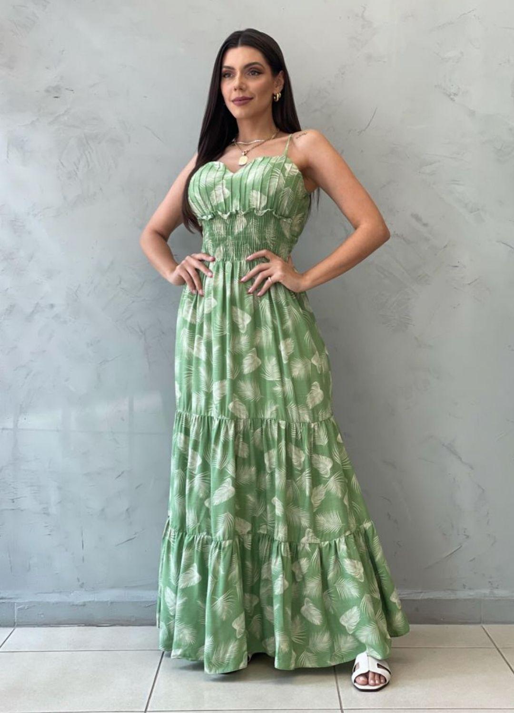 Vestido longo verde estampado