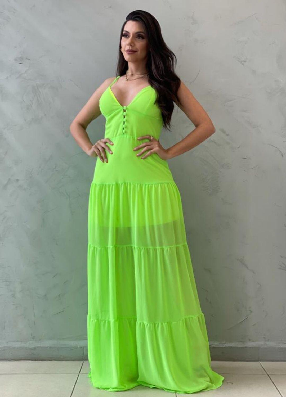 Vestido longo verde lima