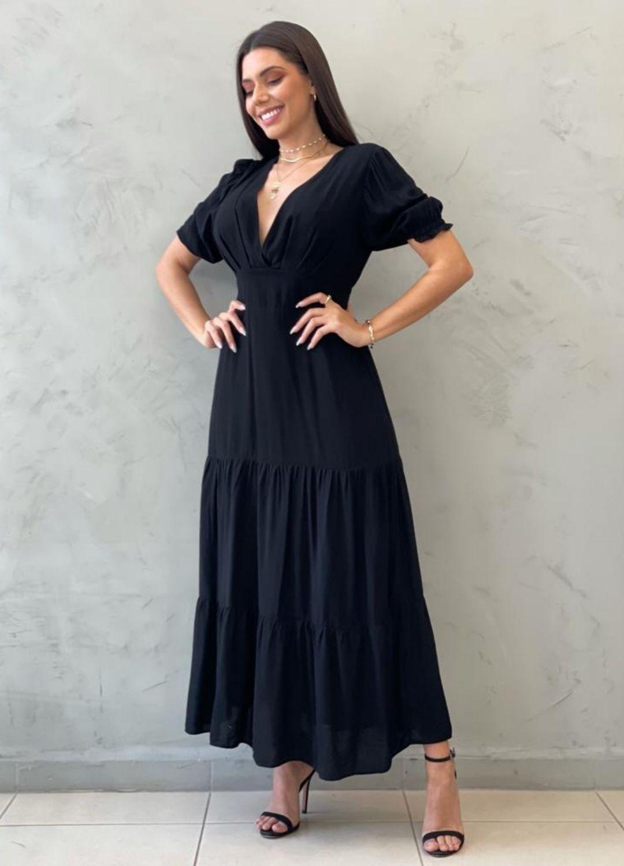 Vestido Midi acinturado preto