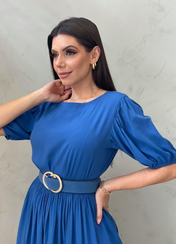 Vestido Midi Amplo azul