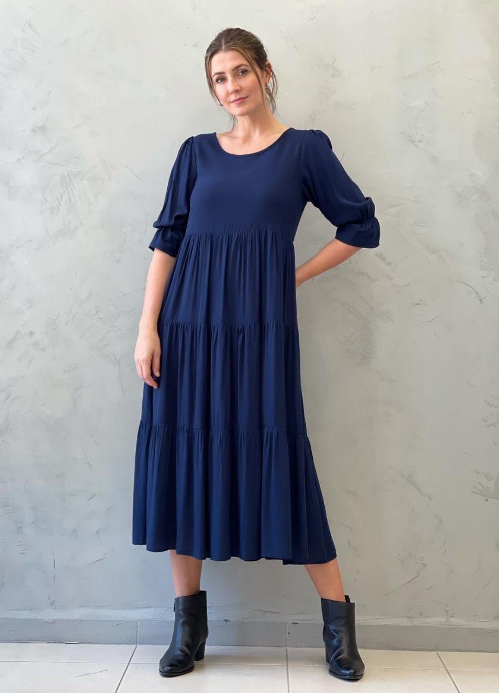 Vestido Midi Amplo azul marinho