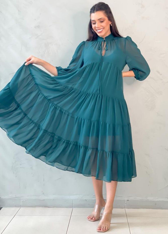 Vestido Midi Amplo Chiffon verde
