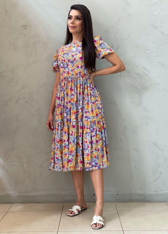 Vestido Midi Amplo lilás estampado