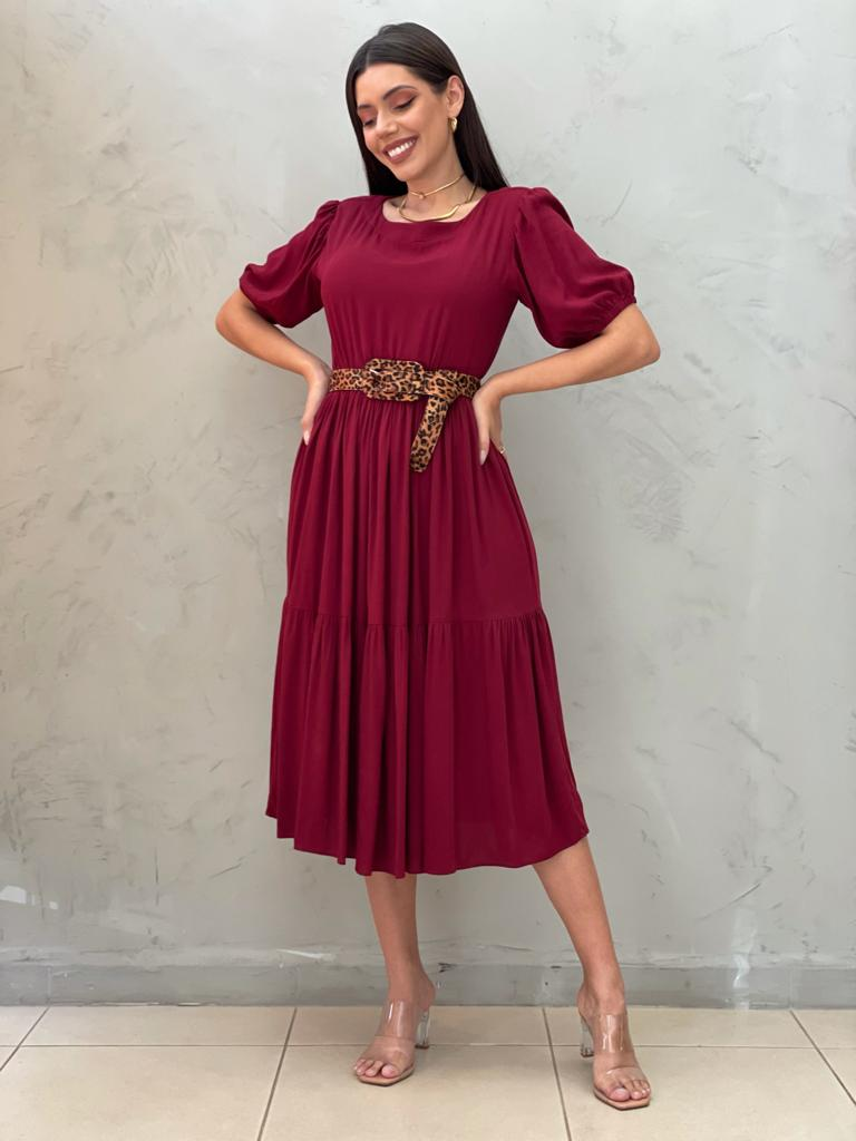 Vestido Midi Amplo Marsala