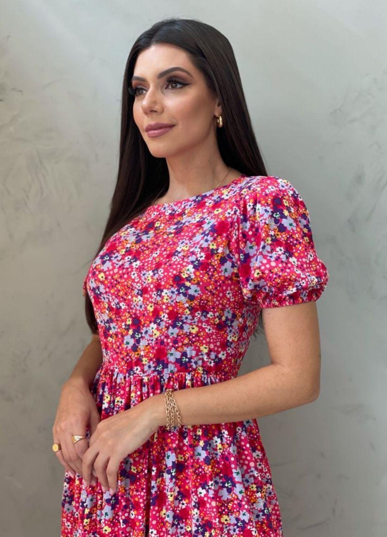Vestido Midi Amplo pink estampado