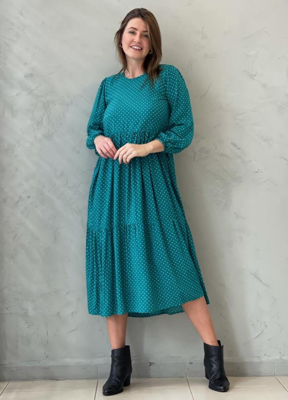 Vestido Midi Amplo Verde Poá