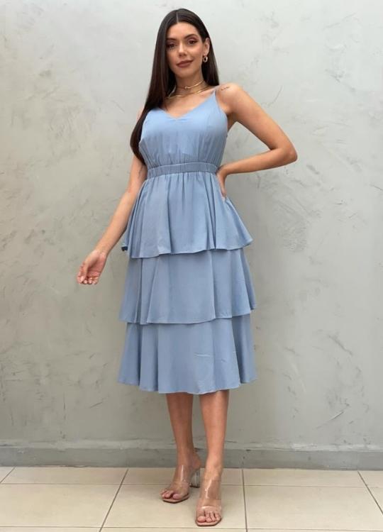 Vestido Midi azul com babados