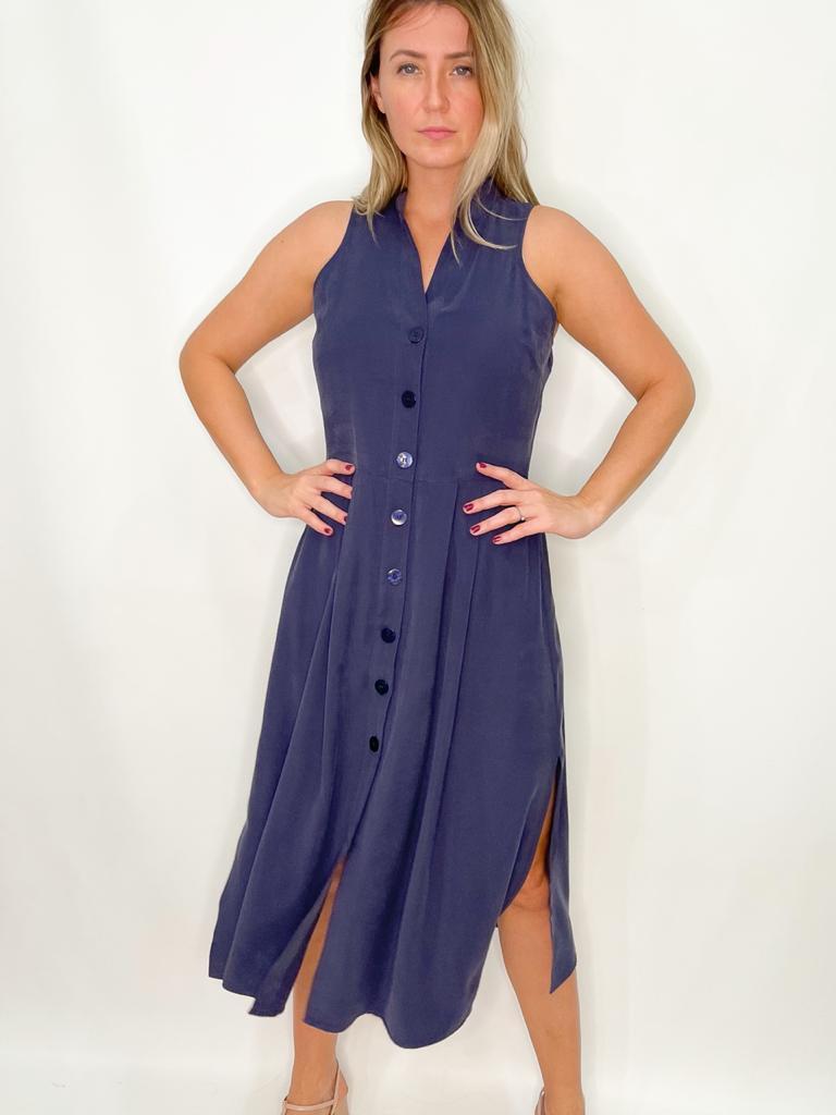 Vestido Midi Azul com botões