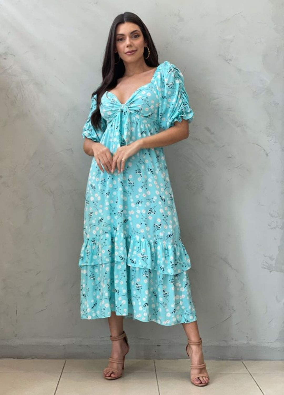Vestido midi azul estampado